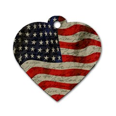 Vintage American flag Dog Tag Heart (Two Sides)