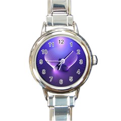 Abstract Fractal 3d Purple Artistic Pattern Line Round Italian Charm Watch