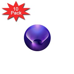 Abstract Fractal 3d Purple Artistic Pattern Line 1  Mini Buttons (10 pack)