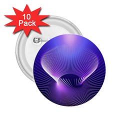 Abstract Fractal 3d Purple Artistic Pattern Line 2.25  Buttons (10 pack)
