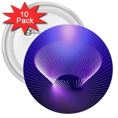Abstract Fractal 3d Purple Artistic Pattern Line 3  Buttons (10 pack)