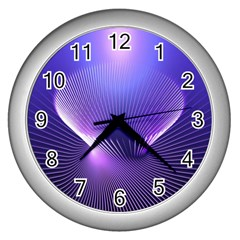 Abstract Fractal 3d Purple Artistic Pattern Line Wall Clocks (Silver)