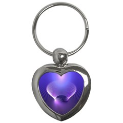 Abstract Fractal 3d Purple Artistic Pattern Line Key Chains (heart)