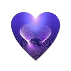 Abstract Fractal 3d Purple Artistic Pattern Line Heart Magnet