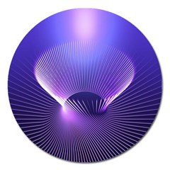 Abstract Fractal 3d Purple Artistic Pattern Line Magnet 5  (round)