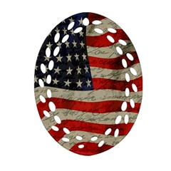 Vintage American flag Oval Filigree Ornament (Two Sides)