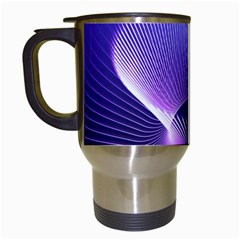 Abstract Fractal 3d Purple Artistic Pattern Line Travel Mugs (white)