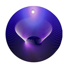 Abstract Fractal 3d Purple Artistic Pattern Line Round Ornament (Two Sides)