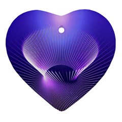 Abstract Fractal 3d Purple Artistic Pattern Line Heart Ornament (two Sides)