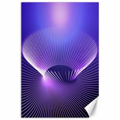 Abstract Fractal 3d Purple Artistic Pattern Line Canvas 24  x 36