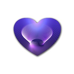 Abstract Fractal 3d Purple Artistic Pattern Line Rubber Coaster (Heart)