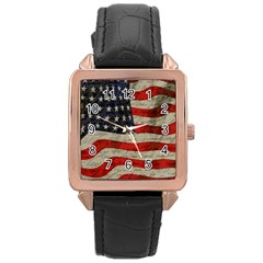 Vintage American flag Rose Gold Leather Watch