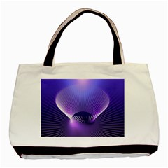 Abstract Fractal 3d Purple Artistic Pattern Line Basic Tote Bag (Two Sides)