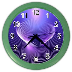 Abstract Fractal 3d Purple Artistic Pattern Line Color Wall Clocks