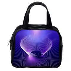 Abstract Fractal 3d Purple Artistic Pattern Line Classic Handbags (one Side)