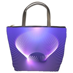 Abstract Fractal 3d Purple Artistic Pattern Line Bucket Bags