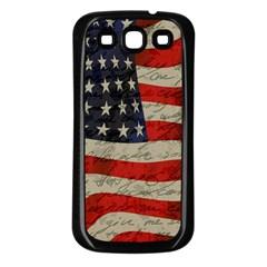 Vintage American flag Samsung Galaxy S3 Back Case (Black)
