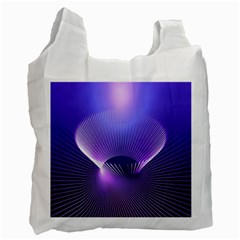 Abstract Fractal 3d Purple Artistic Pattern Line Recycle Bag (two Side)