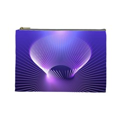 Abstract Fractal 3d Purple Artistic Pattern Line Cosmetic Bag (Large)