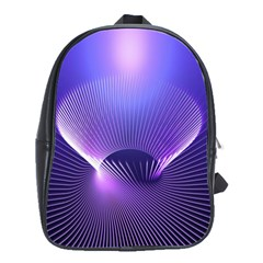 Abstract Fractal 3d Purple Artistic Pattern Line School Bags(large)