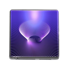 Abstract Fractal 3d Purple Artistic Pattern Line Memory Card Reader (Square)