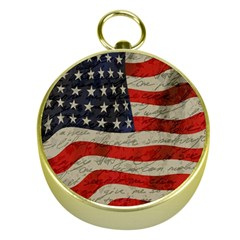 Vintage American flag Gold Compasses