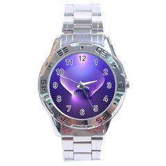 Abstract Fractal 3d Purple Artistic Pattern Line Stainless Steel Analogue Watch