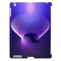 Abstract Fractal 3d Purple Artistic Pattern Line Apple iPad 3/4 Hardshell Case (Compatible with Smart Cover)