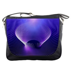 Abstract Fractal 3d Purple Artistic Pattern Line Messenger Bags