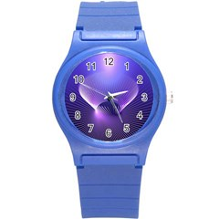 Abstract Fractal 3d Purple Artistic Pattern Line Round Plastic Sport Watch (S)