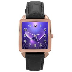 Abstract Fractal 3d Purple Artistic Pattern Line Rose Gold Leather Watch
