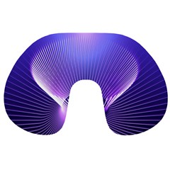 Abstract Fractal 3d Purple Artistic Pattern Line Travel Neck Pillows