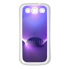 Abstract Fractal 3d Purple Artistic Pattern Line Samsung Galaxy S3 Back Case (White)