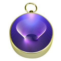 Abstract Fractal 3d Purple Artistic Pattern Line Gold Compasses