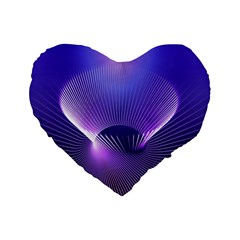 Abstract Fractal 3d Purple Artistic Pattern Line Standard 16  Premium Flano Heart Shape Cushions