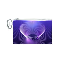 Abstract Fractal 3d Purple Artistic Pattern Line Canvas Cosmetic Bag (S)