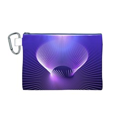 Abstract Fractal 3d Purple Artistic Pattern Line Canvas Cosmetic Bag (M)