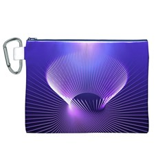 Abstract Fractal 3d Purple Artistic Pattern Line Canvas Cosmetic Bag (XL)
