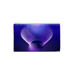 Abstract Fractal 3d Purple Artistic Pattern Line Cosmetic Bag (XS)