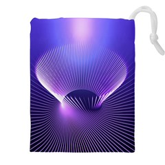 Abstract Fractal 3d Purple Artistic Pattern Line Drawstring Pouches (XXL)