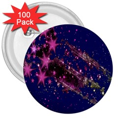 Stars Abstract Shine Spots Lines 3  Buttons (100 Pack)