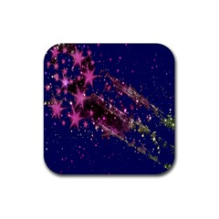 Stars Abstract Shine Spots Lines Rubber Square Coaster (4 Pack)