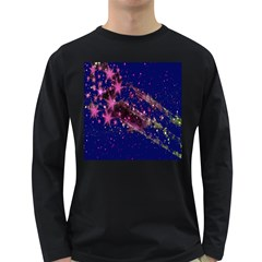 Stars Abstract Shine Spots Lines Long Sleeve Dark T-Shirts