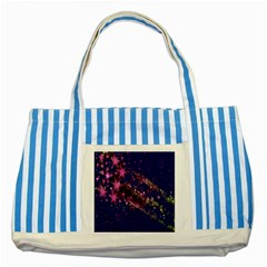 Stars Abstract Shine Spots Lines Striped Blue Tote Bag