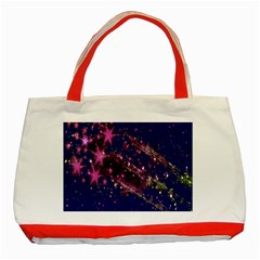 Stars Abstract Shine Spots Lines Classic Tote Bag (Red)
