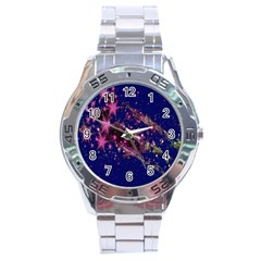 Stars Abstract Shine Spots Lines Stainless Steel Analogue Watch