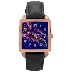 Stars Abstract Shine Spots Lines Rose Gold Leather Watch