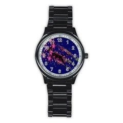 Stars Abstract Shine Spots Lines Stainless Steel Round Watch