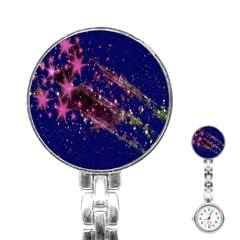 Stars Abstract Shine Spots Lines Stainless Steel Nurses Watch