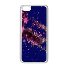 Stars Abstract Shine Spots Lines Apple iPhone 5C Seamless Case (White)